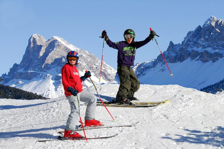 single parent and child skiing