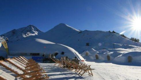 sun loungers outside apres ski hut on mountain hut in Mayrhofen Austria