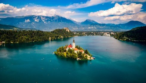 Slovenia - Aerial view of Lake Blad, Bled island, solo holidays