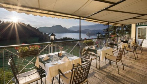 panoramic view from the terrace of Hotel Triglav in Bled Slovenia - solo holidays