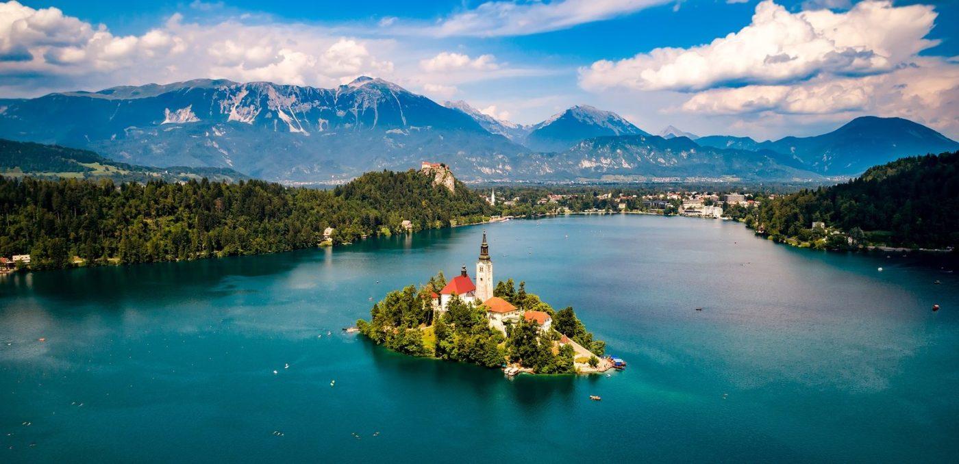 Slovenia - Aerial view Lake Bled