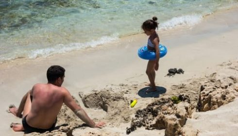 single parent holiday in Cyprus, father and child on beach