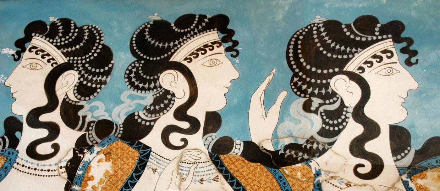 Fresco from Knossos in Crete - Crete facts