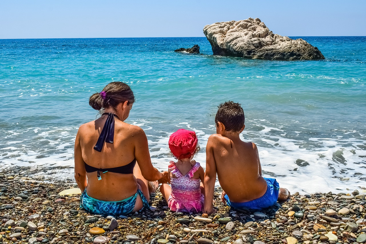 family on the beach in Spain