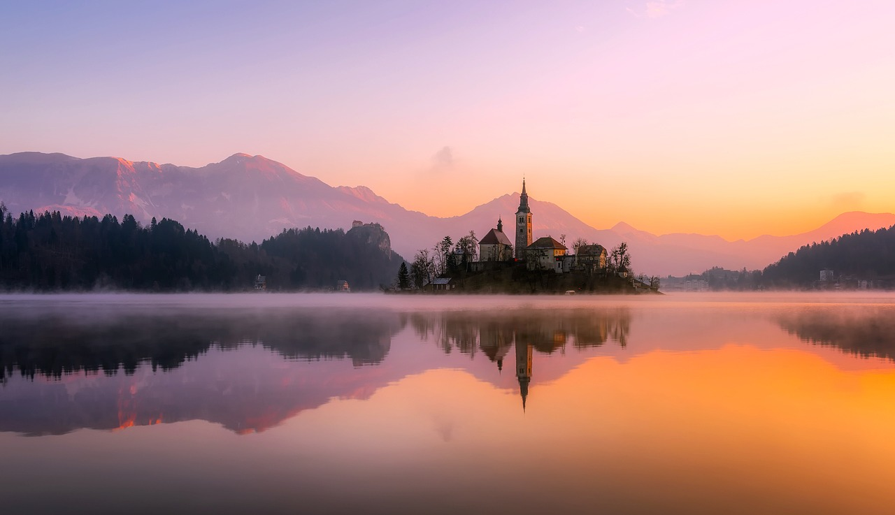Panoramic picture of lake bled