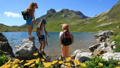 children hiking on single parent activity holiday in Austria