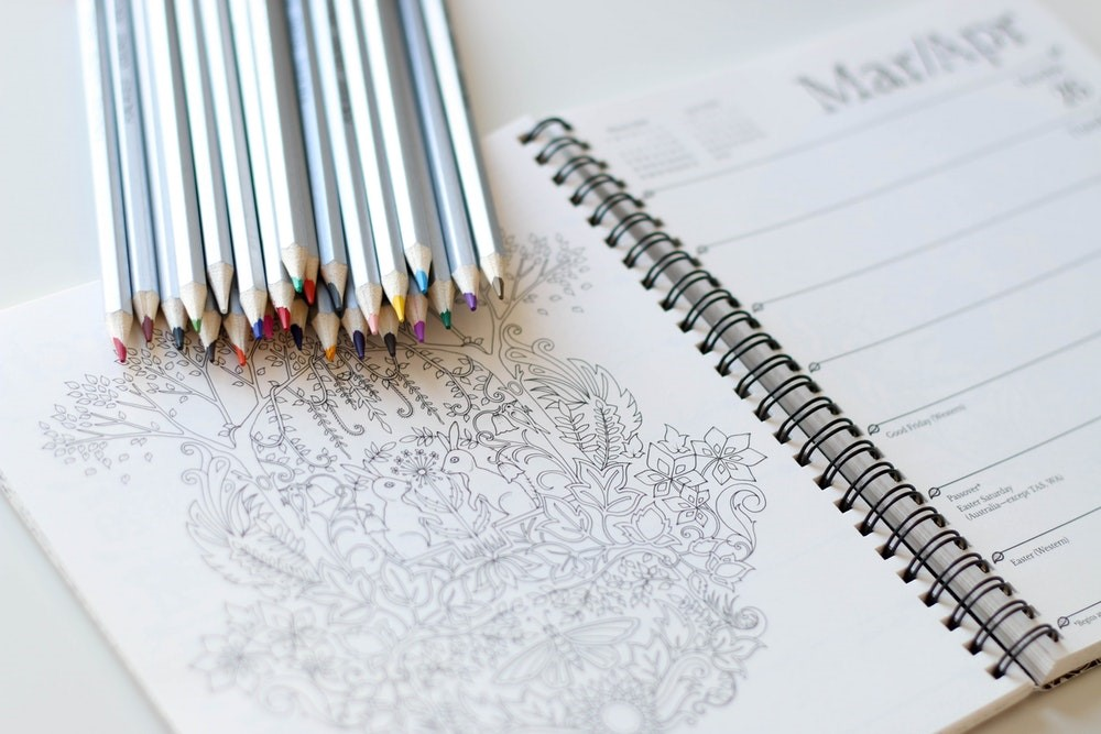 long-haul flight - art book and crayons