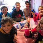 kids in hut in Austria