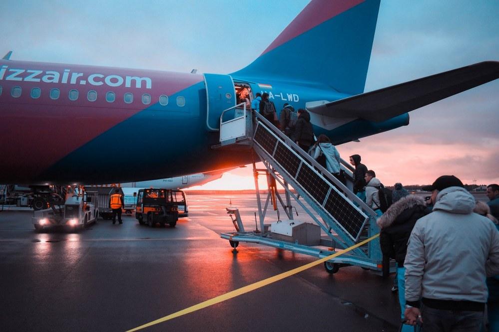 boarding a long-haul flight in the evening