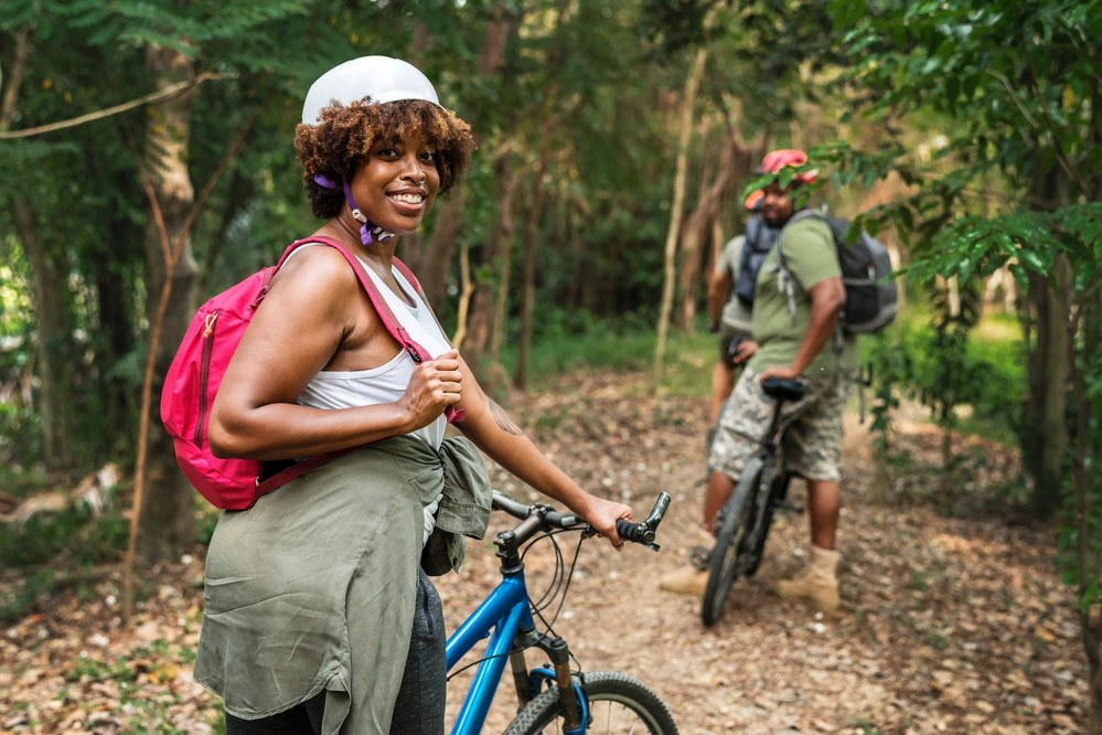 single parent dating - couple cycling in woods