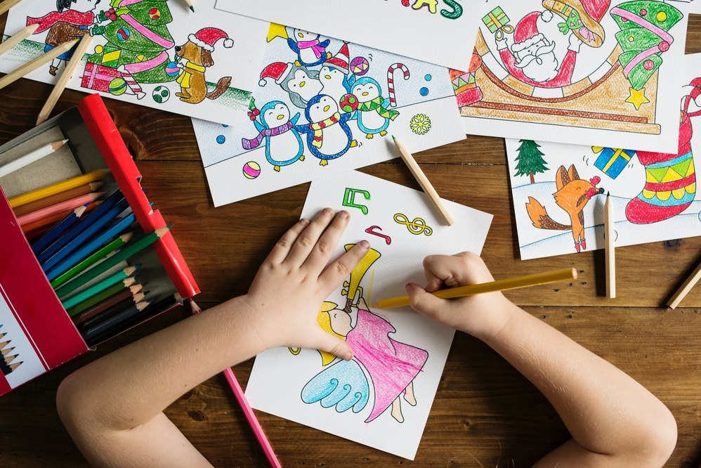 road trip with kids - colouring sheets and crayons