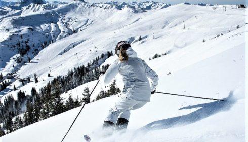 solo skier in Reith near Kitzbühel Austria