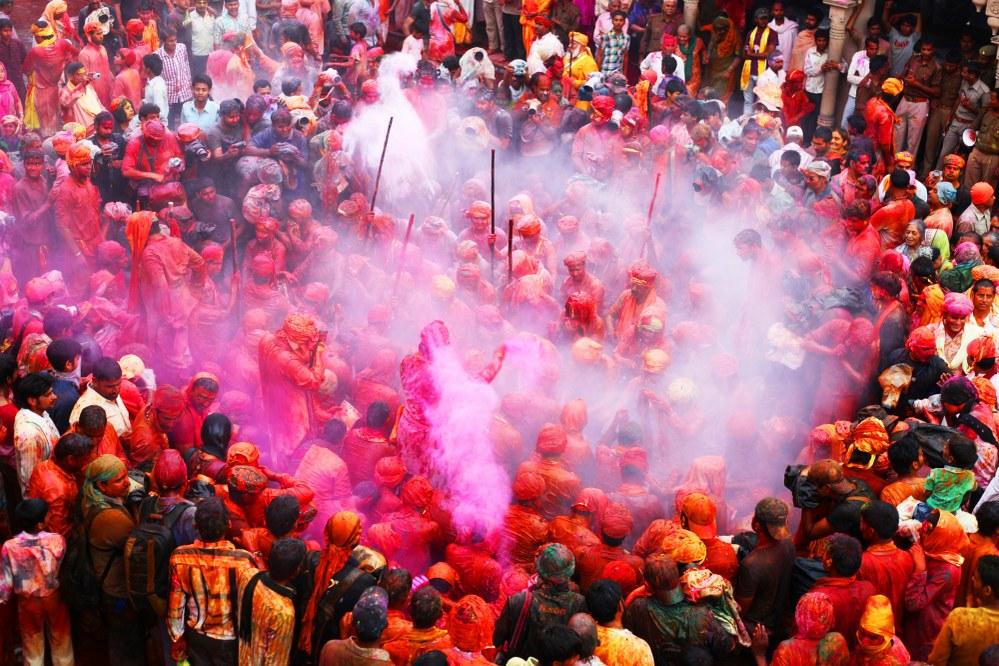 Holi festival in India - celebration in Barsana