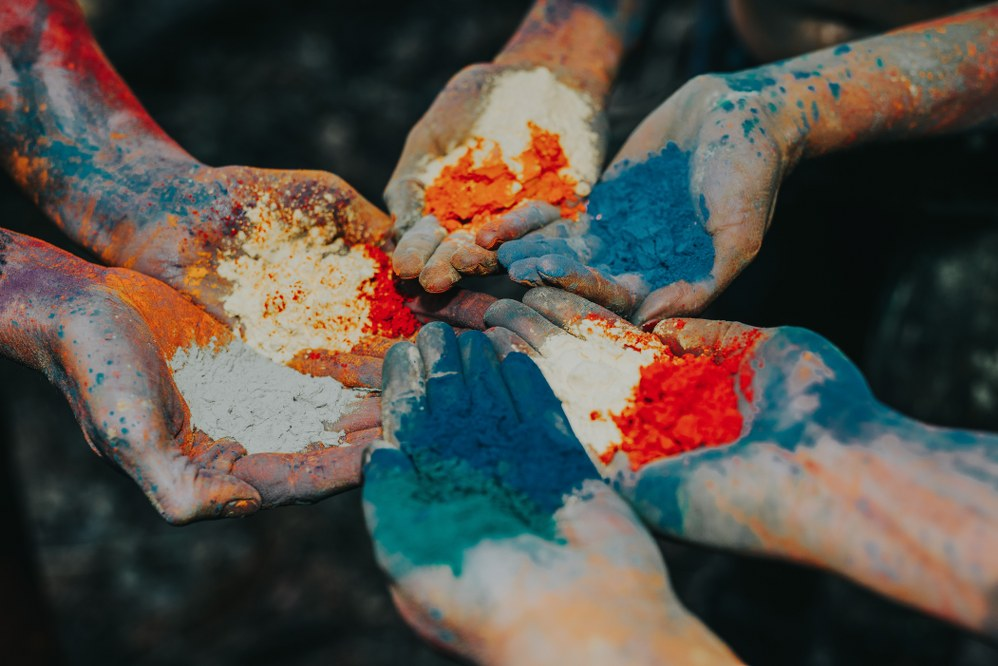 Holi festival in India - coloured powder in hands