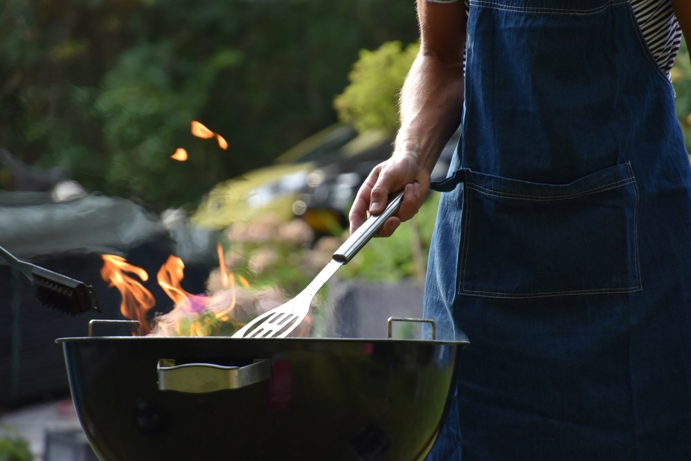 autumn garden: charcoal barbecue