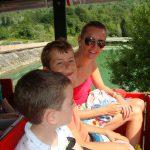 single mum and children at lake Barcis