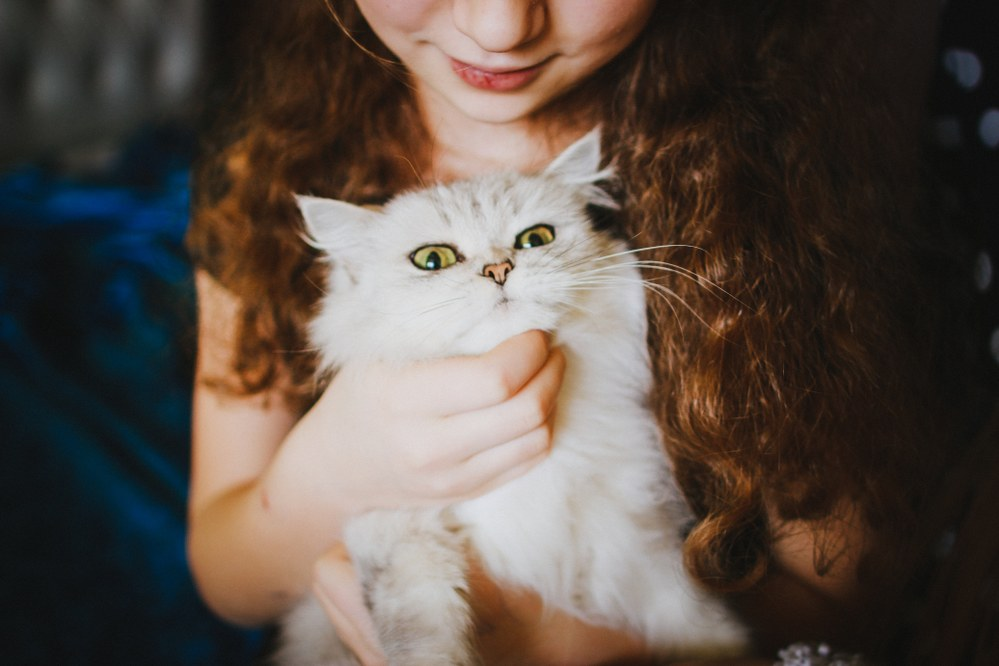 family pet - girl with cat