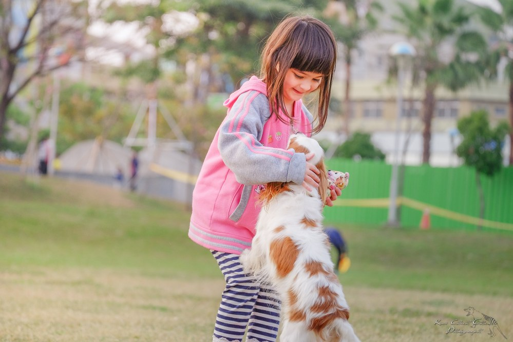 family pet - girl with dog