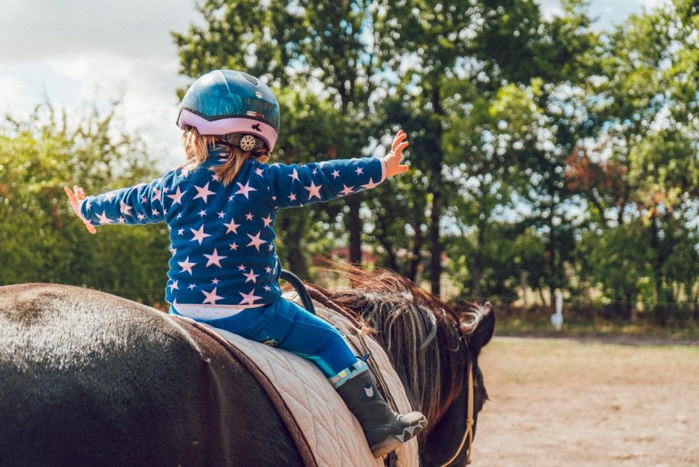 family pet - toddler riding horse