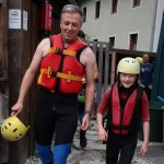 single dad and daughter in Austria rafting