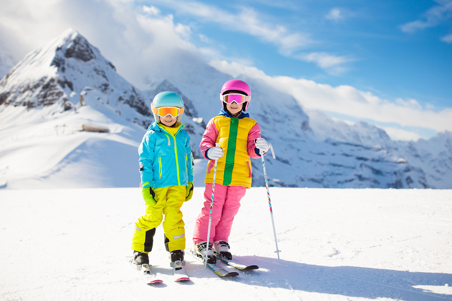two kids on a single parent ski holiday