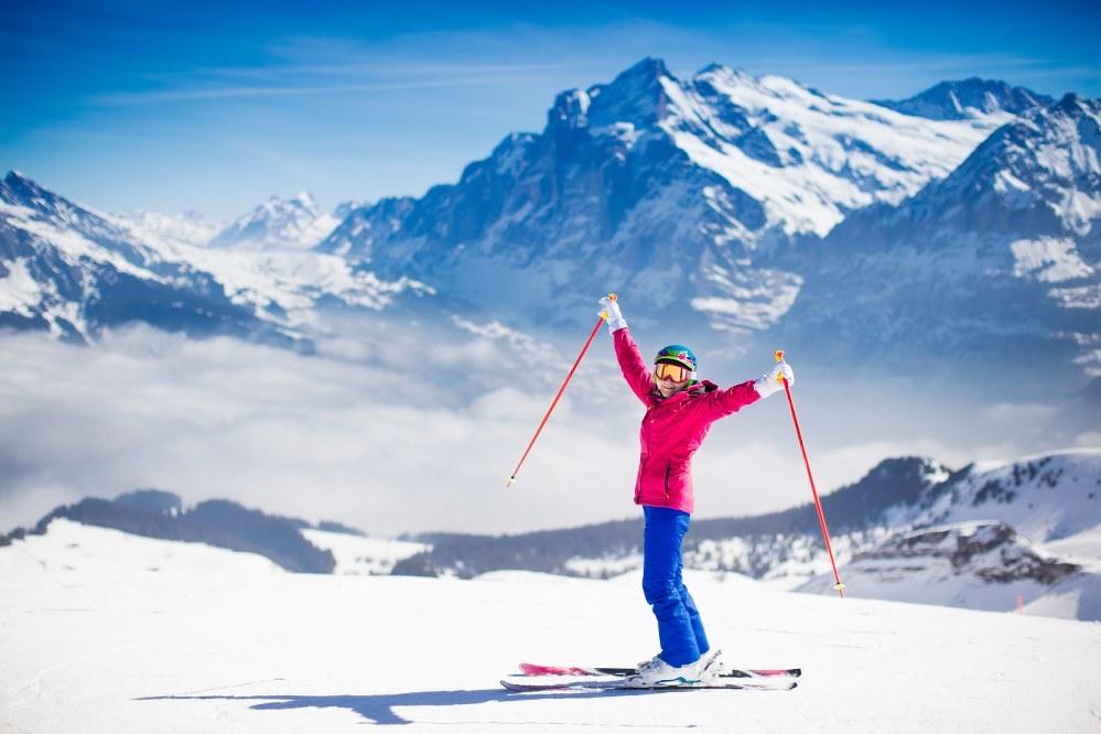 single skier in Austrian Alps