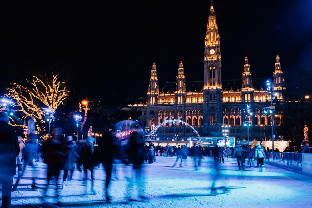 ice skating at xmas market in Vienna Austria