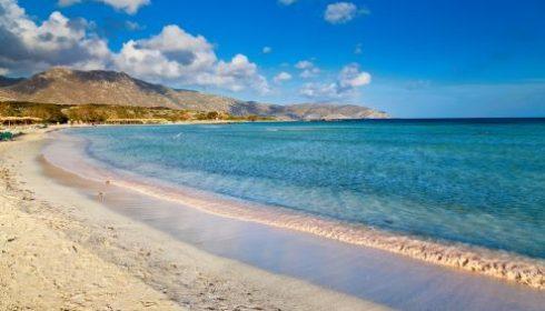 Elafonisi beach lagoon with sandy beach in Crete