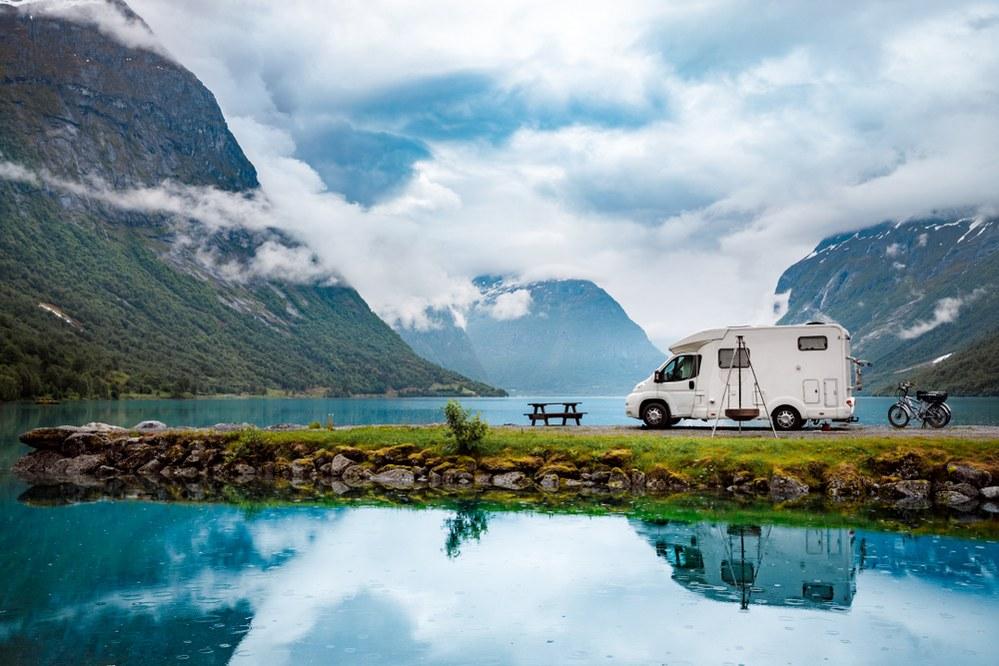 camper van on family camping trip