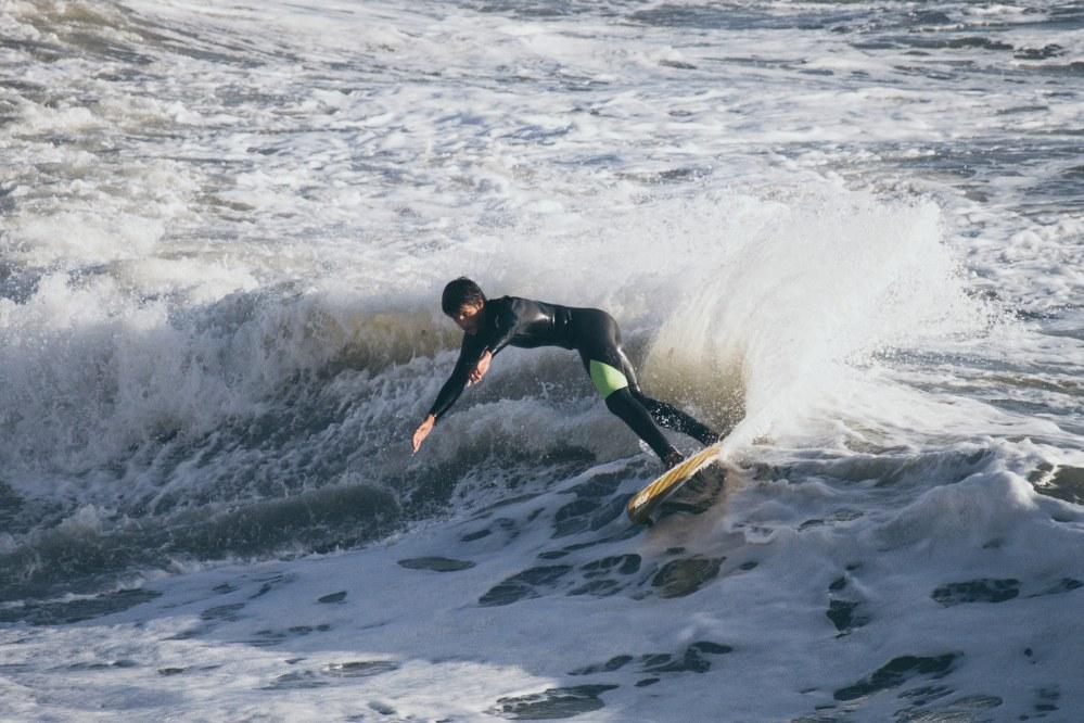 boy surfing in UK