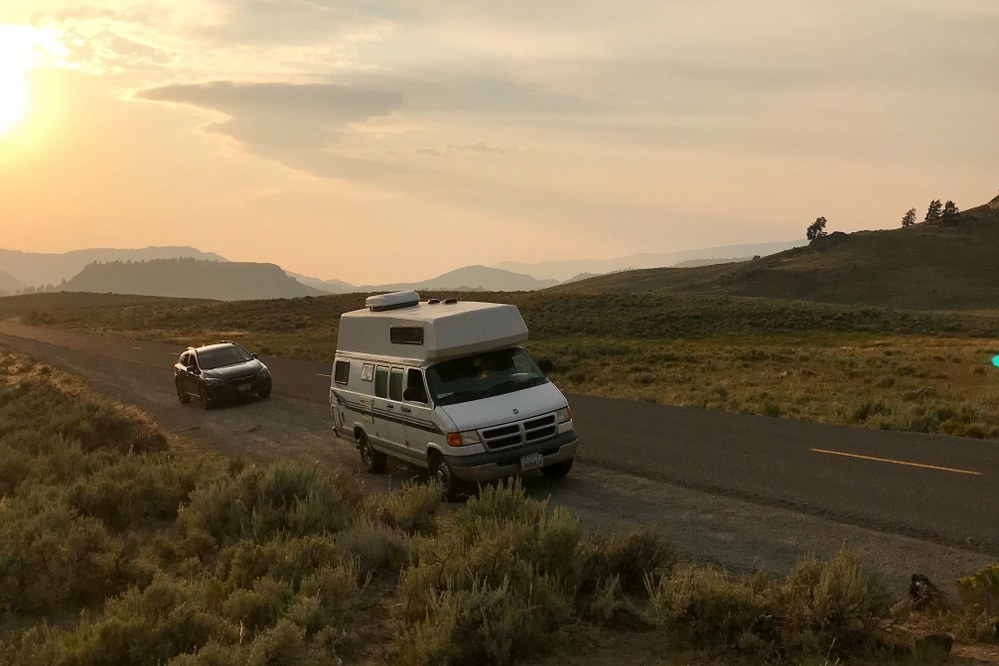 caravan in Yellowstone, US