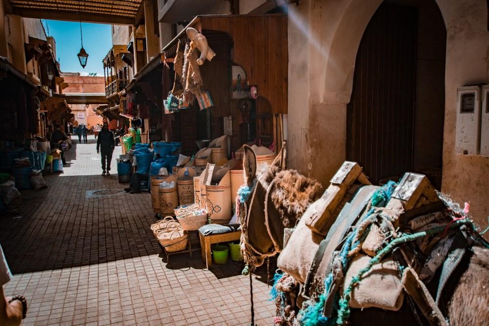 Marrakech street in souk in medina