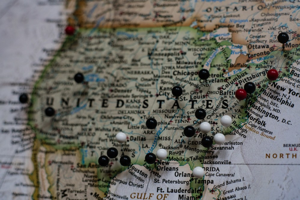 map of US road trip with kids