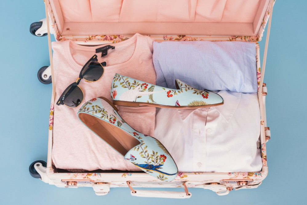 hand luggage case of travelling female