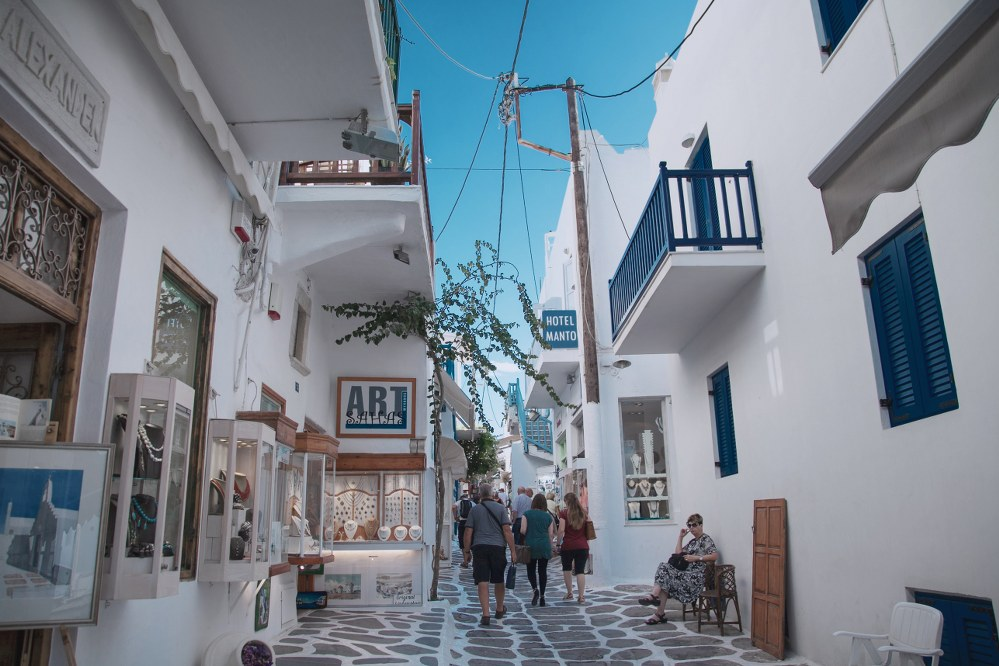 cobbled street of Mykonos town