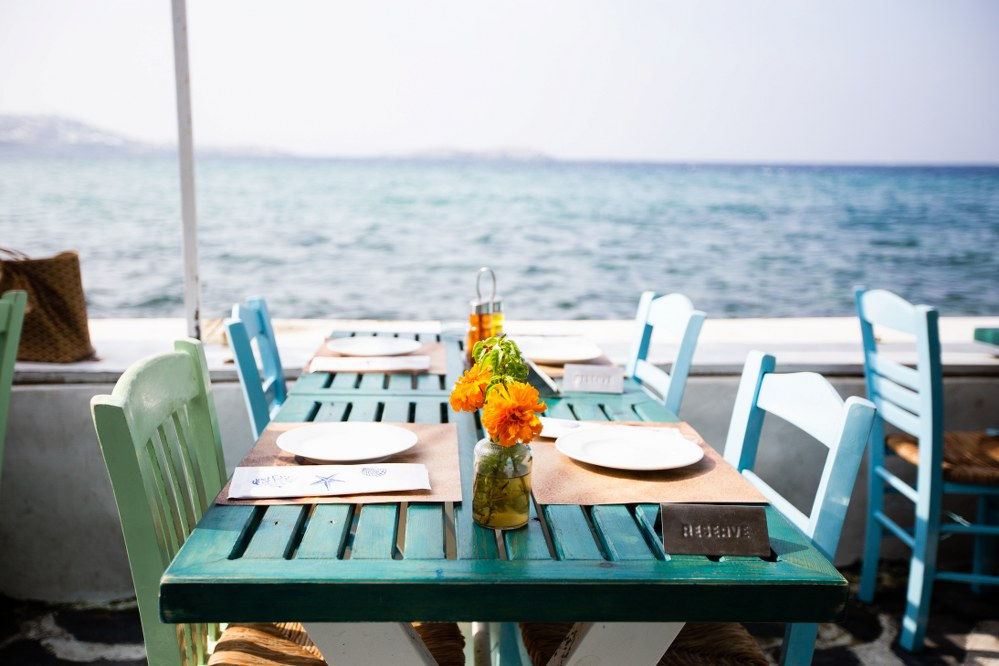 restaurant on waterfront on Mykonos