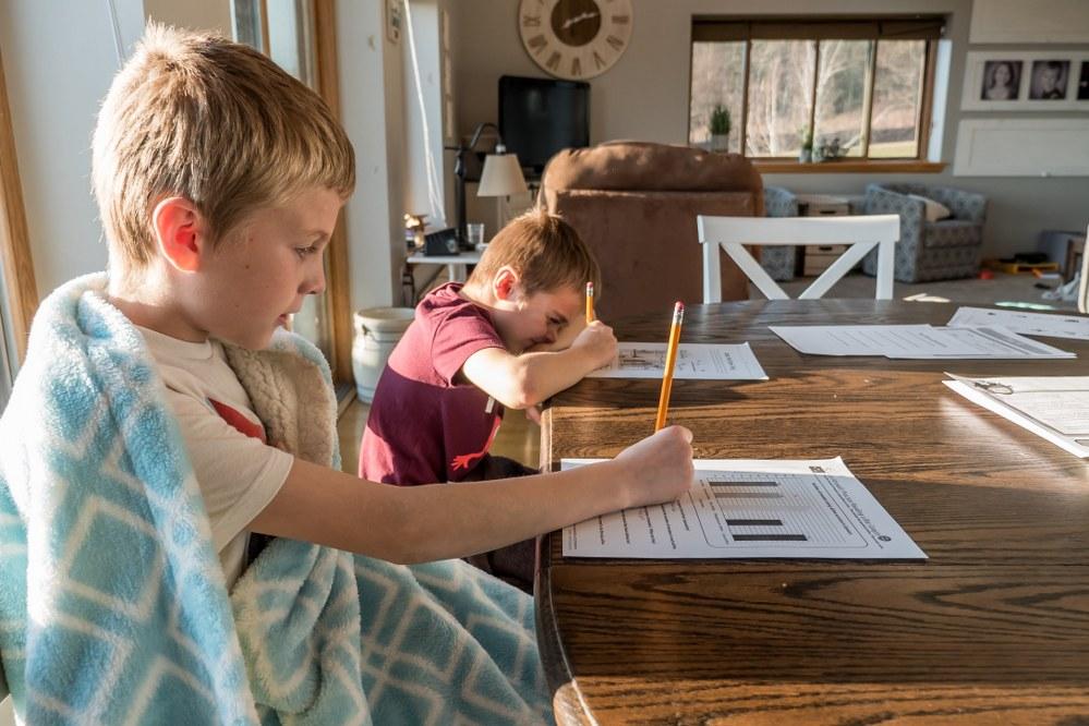 children doing homework during coronavirus crisis