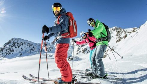 group of solo skiers