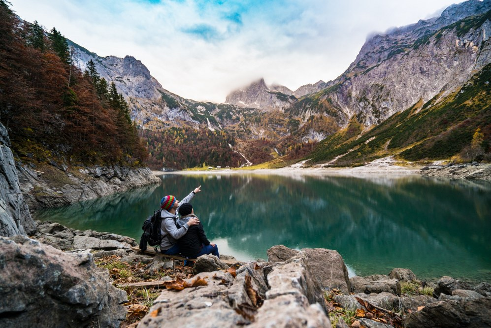 couple at lake in mountains - star dating profile