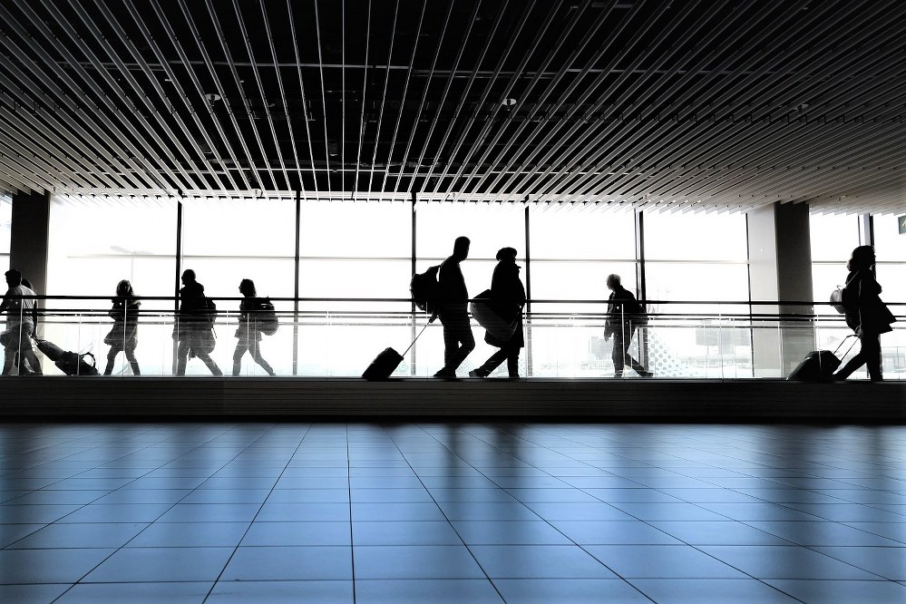 travel abroad - passengers at airport