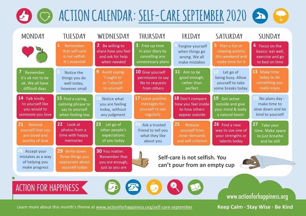 single parents mental health: self care calendar