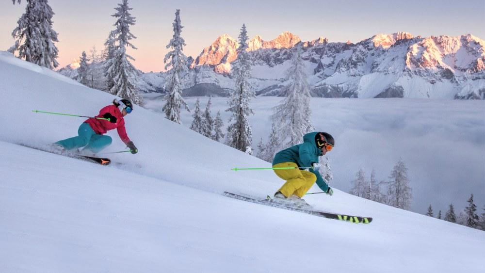 2 alpine skiers - best skis