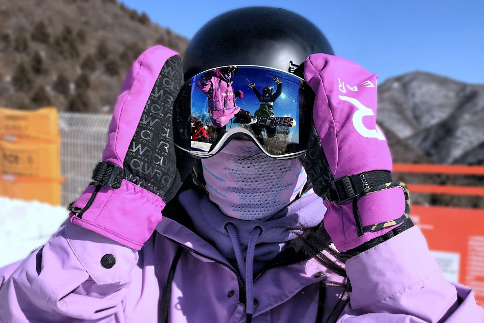 skier with face covering