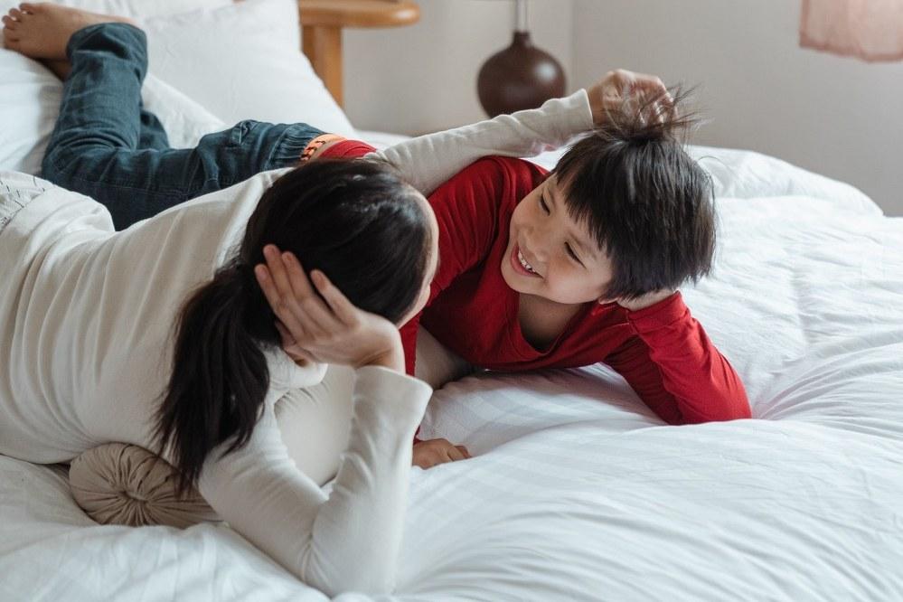 single mum and child talking