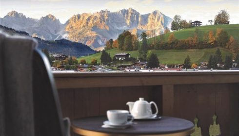 view of Wilder Kaiser from hotel balcony