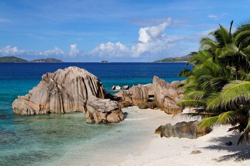 the Seychelles white sandy beach cove