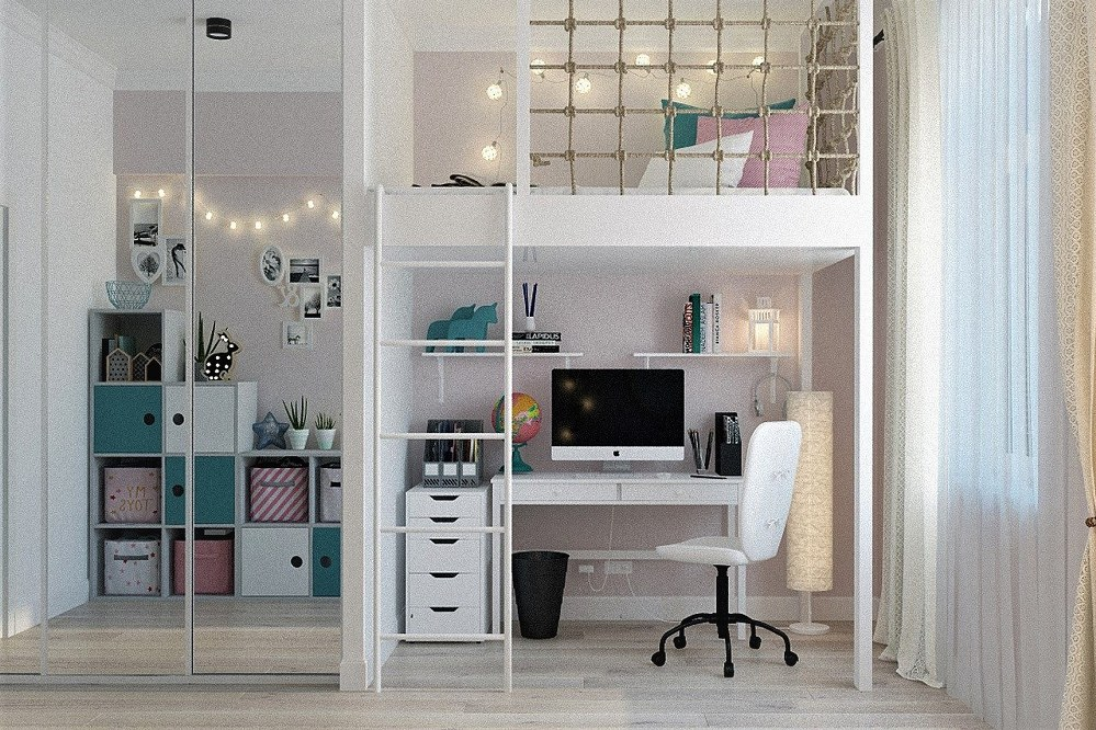 newly decorated child's bedroom with multifunctional furniture