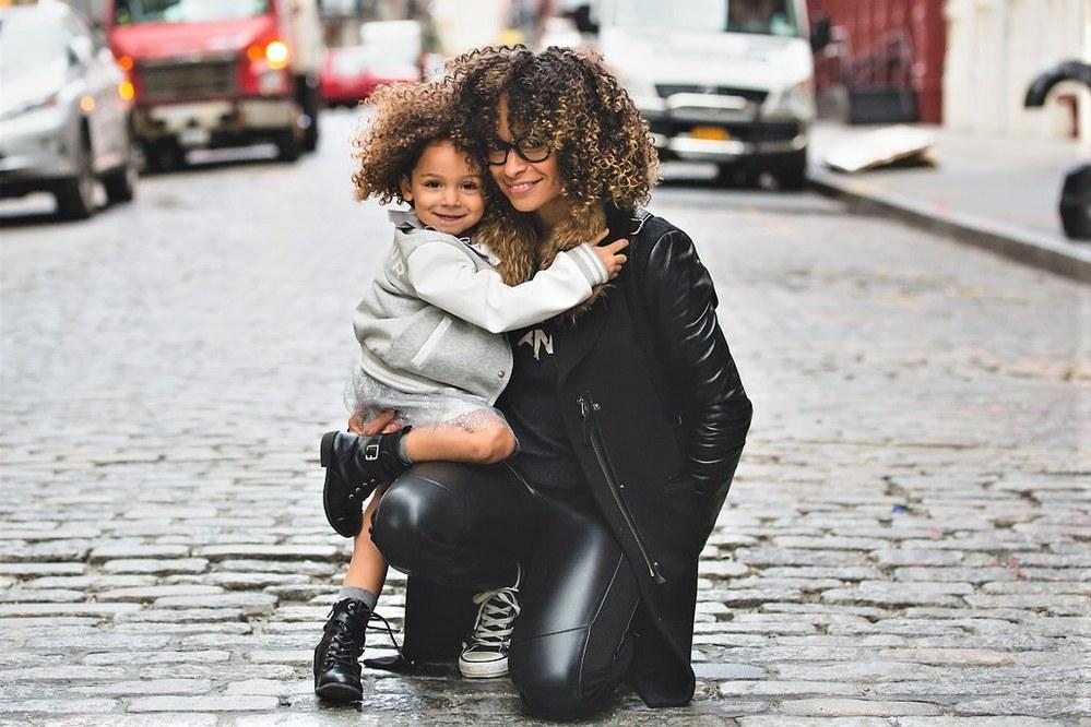 black single mum with child