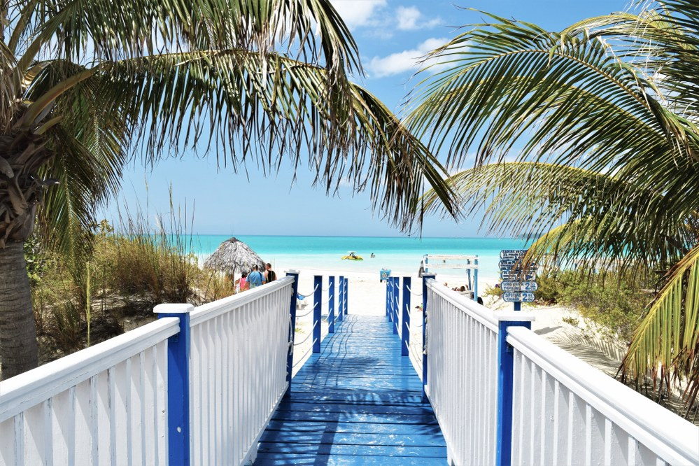 bridge onto beach on Caribbean holiday