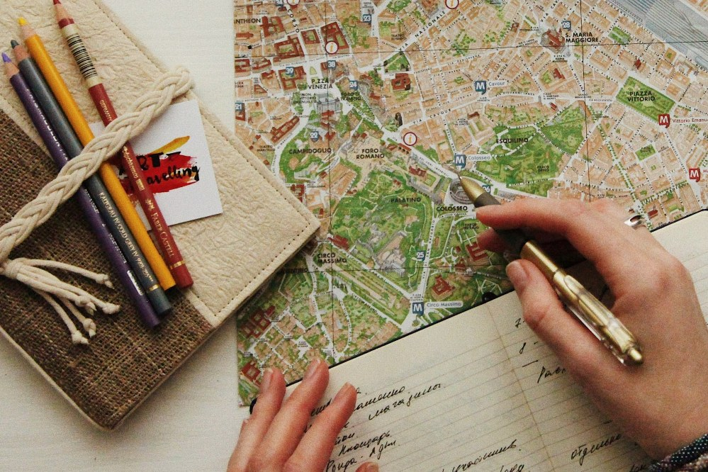woman researching holiday destination